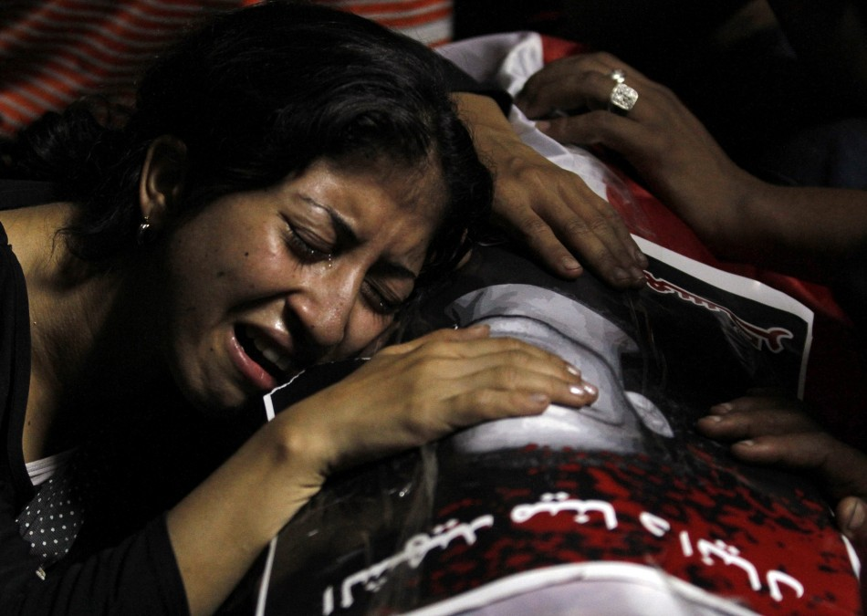 Egyptian Christian woman mourns at the Coptic Hospital in Cairo