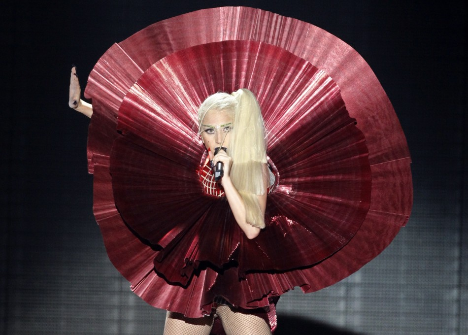 Lagy Gaga performs dressed as a satellite dish