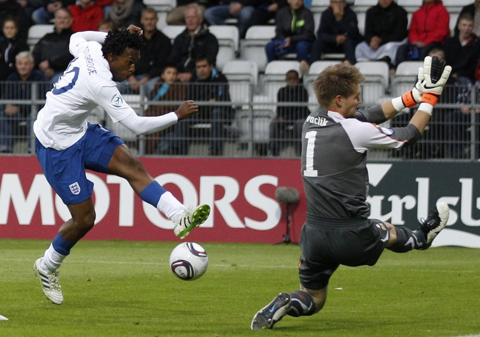 Englands Sturridge shoots at goal blocked by Czech Republics Vaclik during their European Under-21 Championship match in Viborg