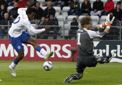 Englands Sturridge shoots at goal blocked by Czech Republics Vaclik during their European Under-21 Championship match in Viborg