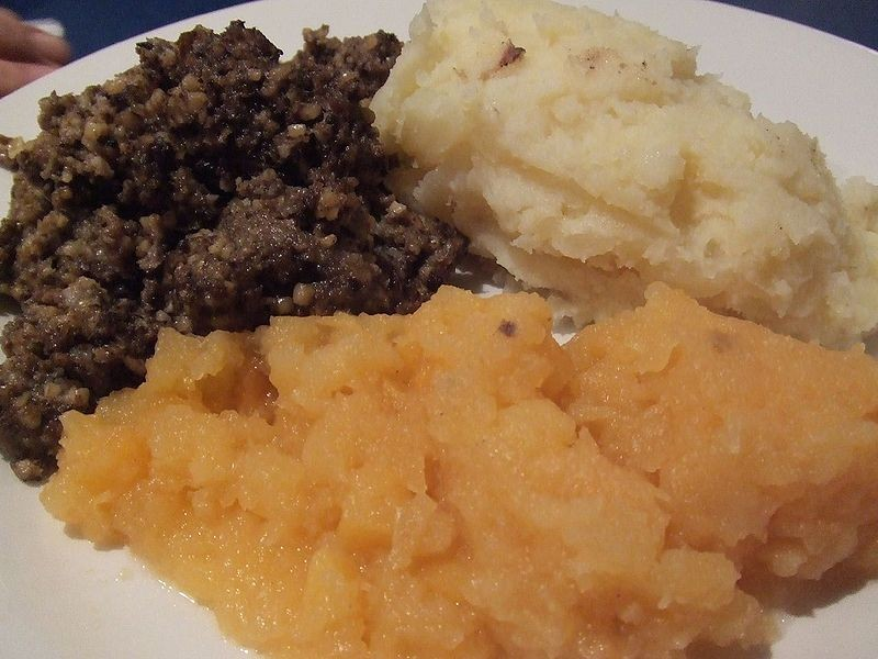 A plate of haggis from Scotland.