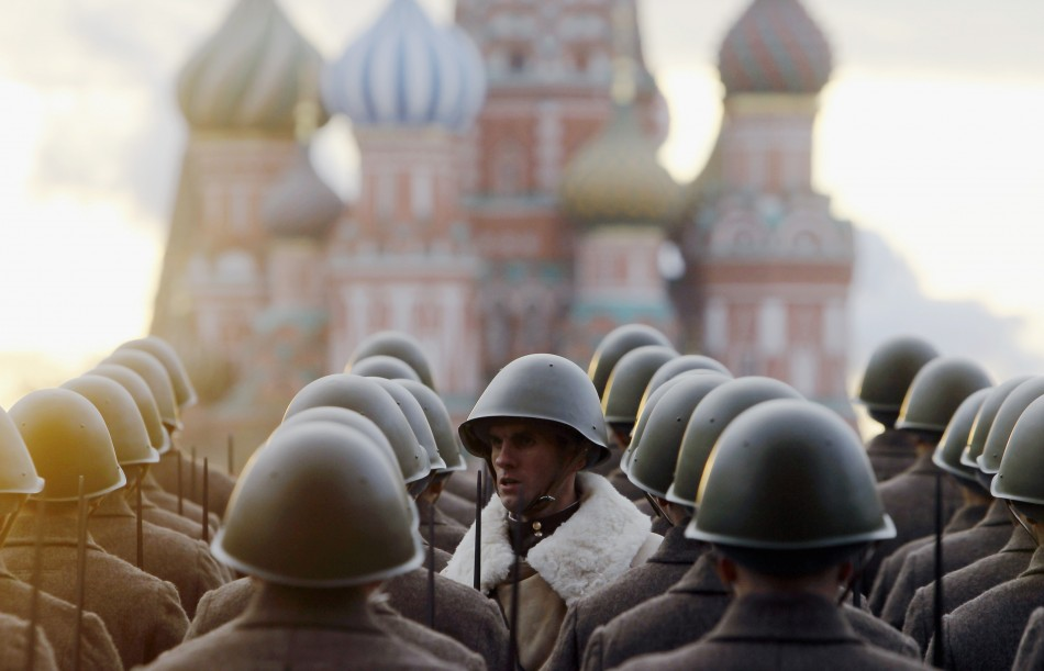 Russian servicemen in historical uniforms take part in a military parade in Moscows Red Square