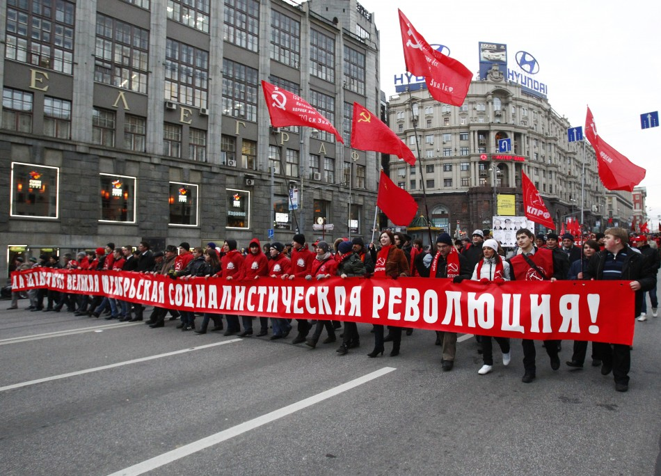 Supporters of Communism assemble in Moscow's Red Square