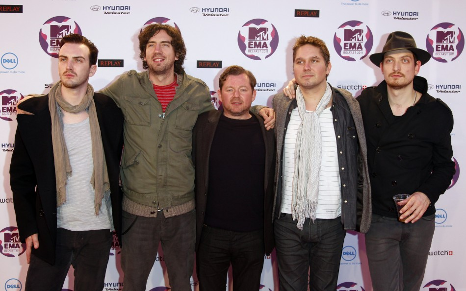 Rock band Snow Patrol arrive on the red carpet at the MTV Europe Music Awards show in Belfast