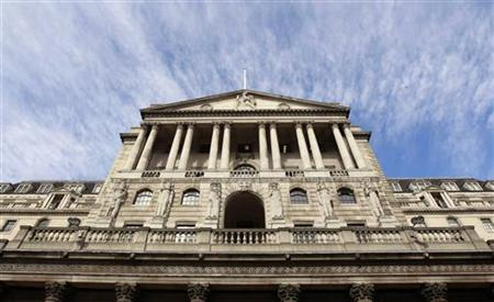 The Bank of England is seen against a blue sky in the City of London