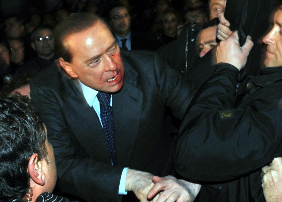 Berlosconi attaked during a campaign rally