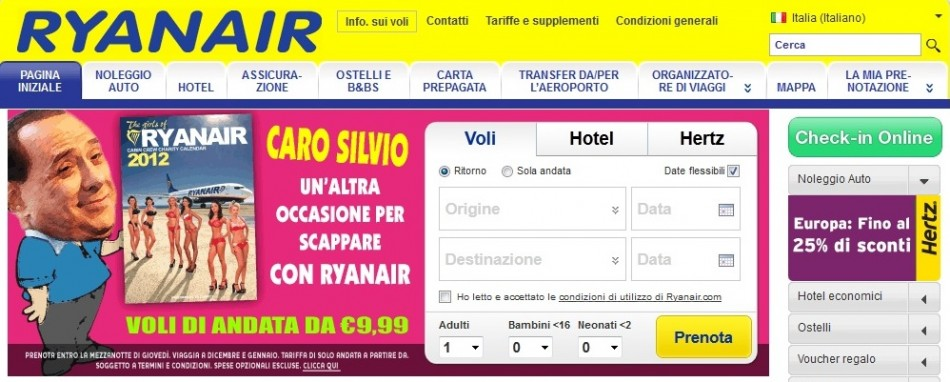 Ryanair Italian Website on Tuesday 8 November 2011
