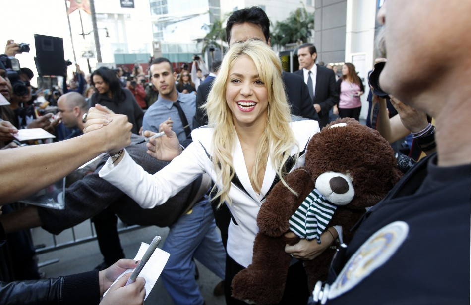 Colombian singer Shakira greets her fans after unveiling her star on the Hollywood Walk of Fame in Hollywood