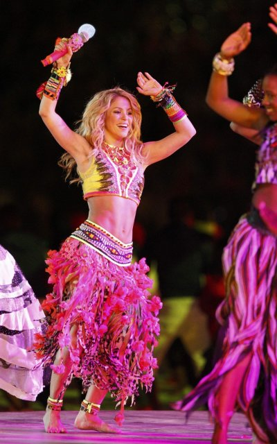 Shakira performs during the closing ceremony of the 2010 World Cup at Soccer City stadium in Johannesburg