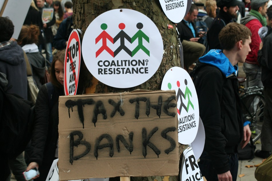 Tax the banks placard