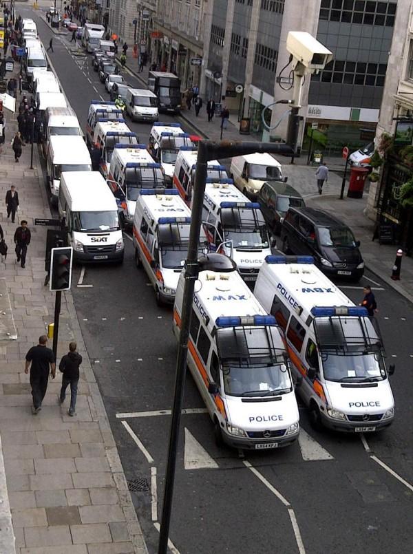 Police vans Fleet Street