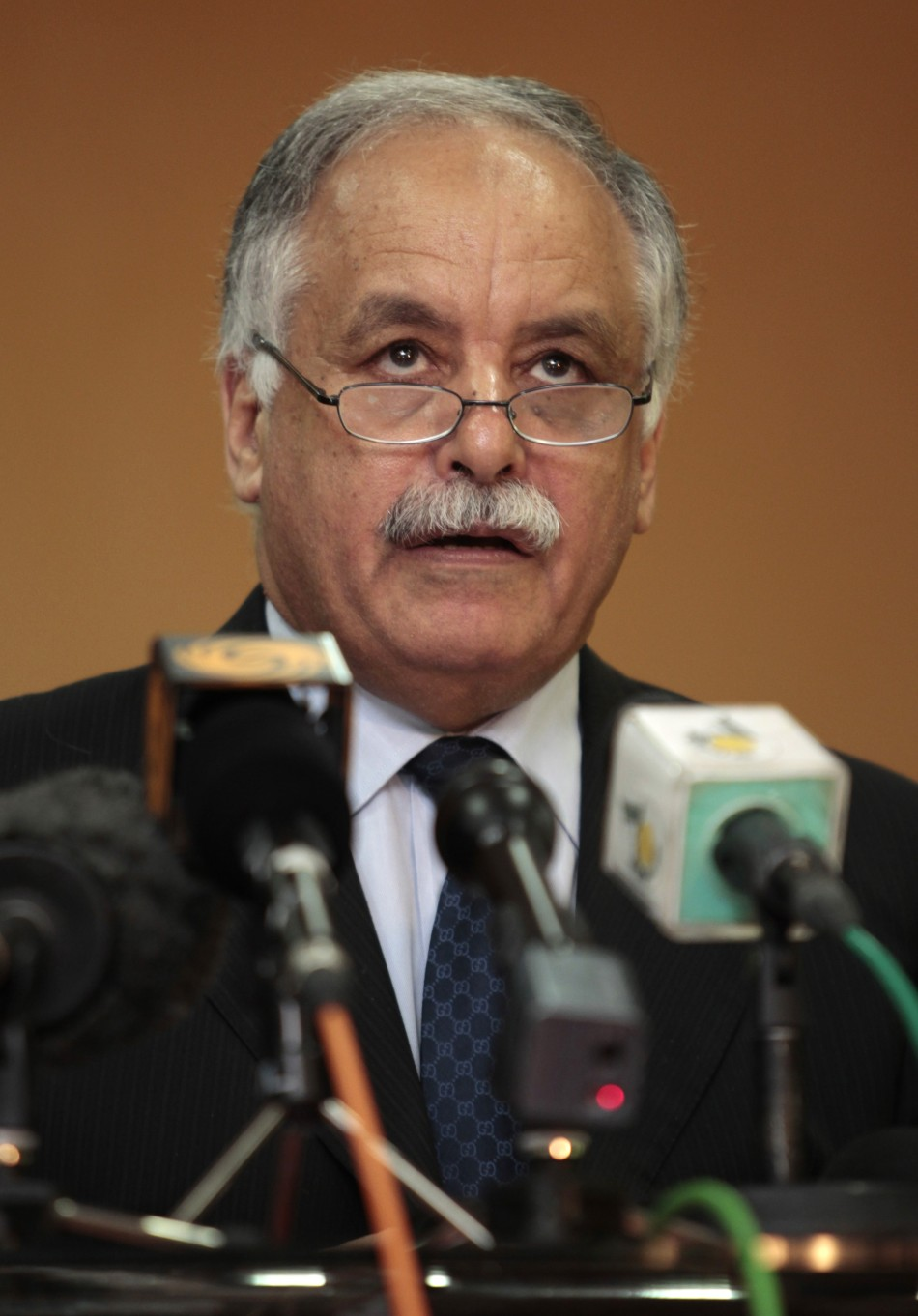 Libyan Prime Minister al-Baghdadi Ali al-Mahmudi talks during his news conference after his meeting with Russia's special representative for Africa, Mikhail Margelov, in Tripoli