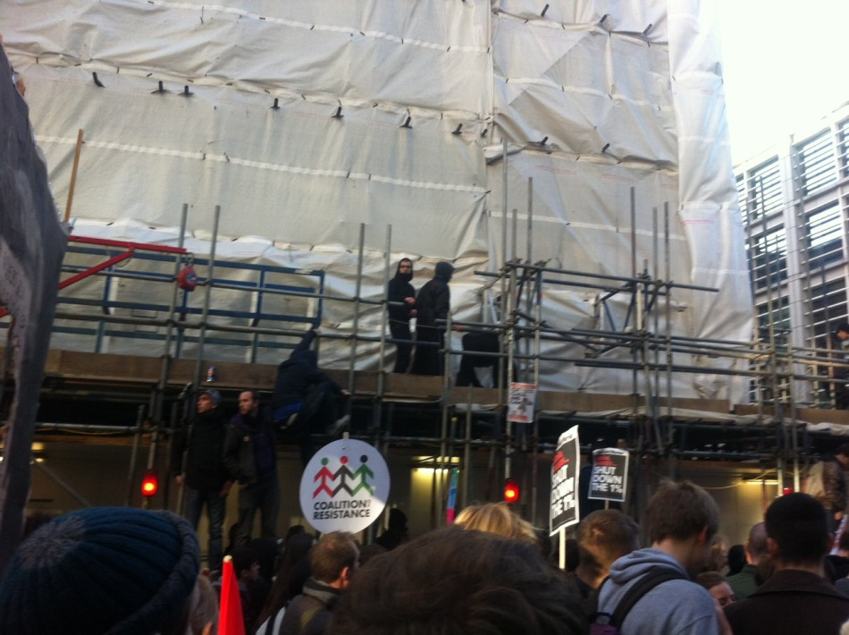 Protesters on scaffold