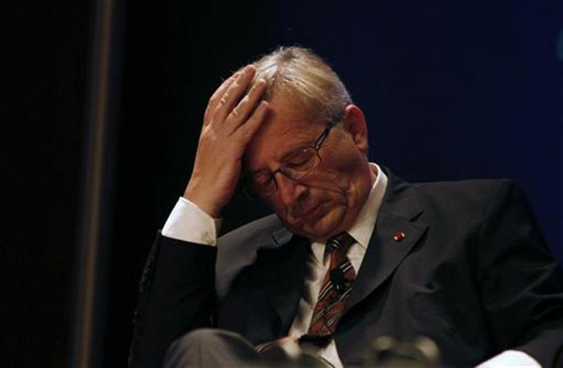 Eurogroup President and Luxembourg PM Juncker gestures during a lecture at the Calouste Gulbenkian Foundation in Lisbon