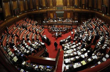 A view of Italy's Senate during a debate in Rome