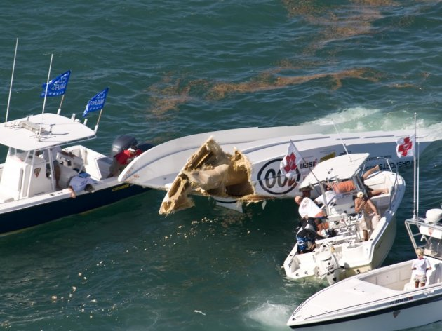 Powerboat racers are rescued after offshore powerboat crash in Florida.
