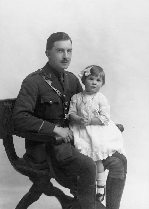 Lt Dodgson of the Army Service Corps photographed with his daughter.