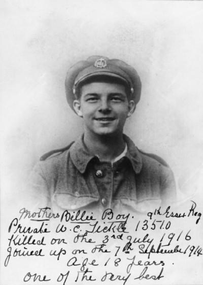 Private William Cecil Tickle, 9 Battalion, Essex Regiment.