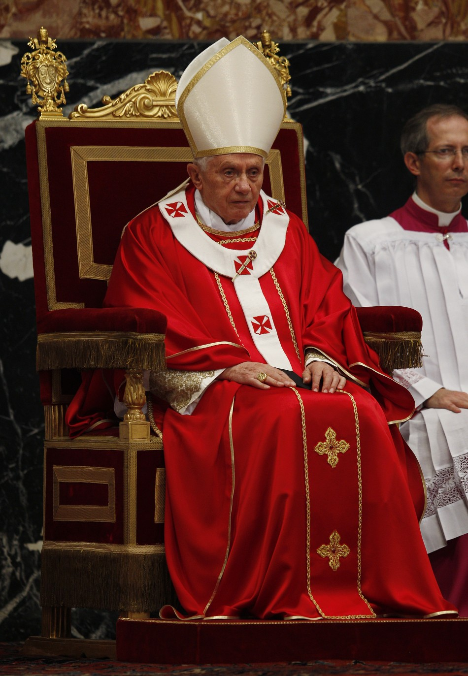Pope Benedict XVI celebrates a mass to commemorate cardinals and bishops who died this year, in St. Peter's Basilica at the Vatican