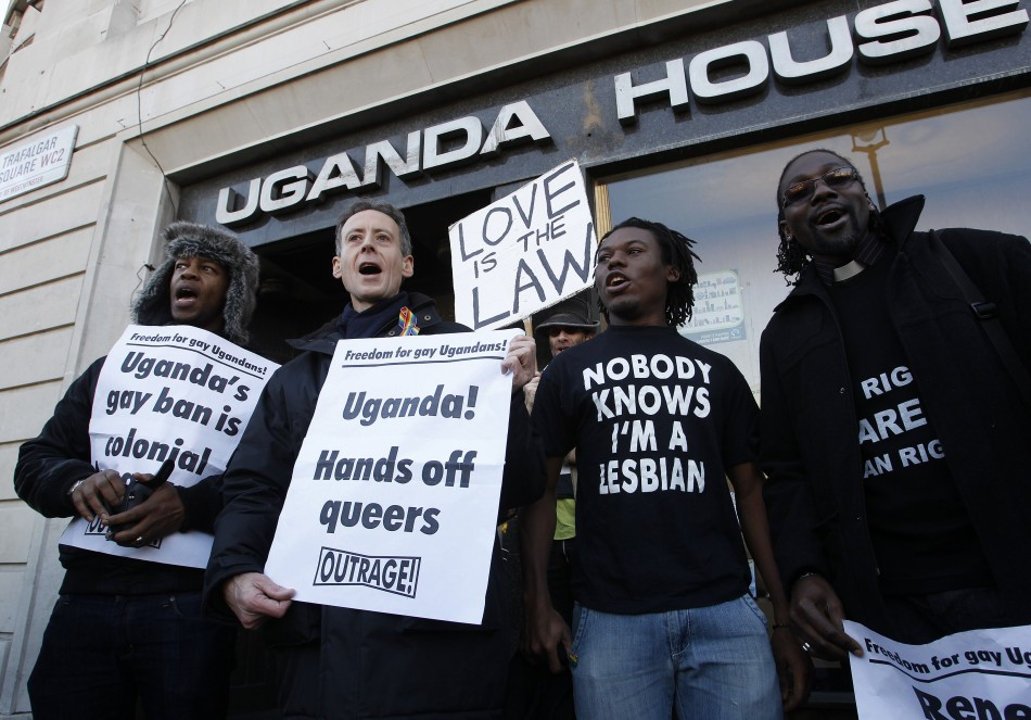 Gay rights activists protest outside Uganda House in Trafalgar Square in London
