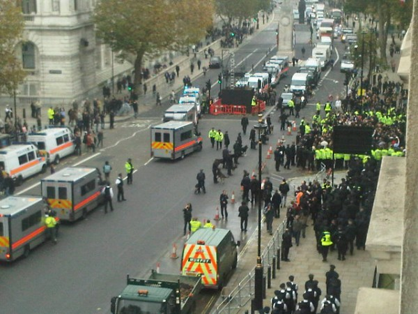 EDL on Whitehall with police