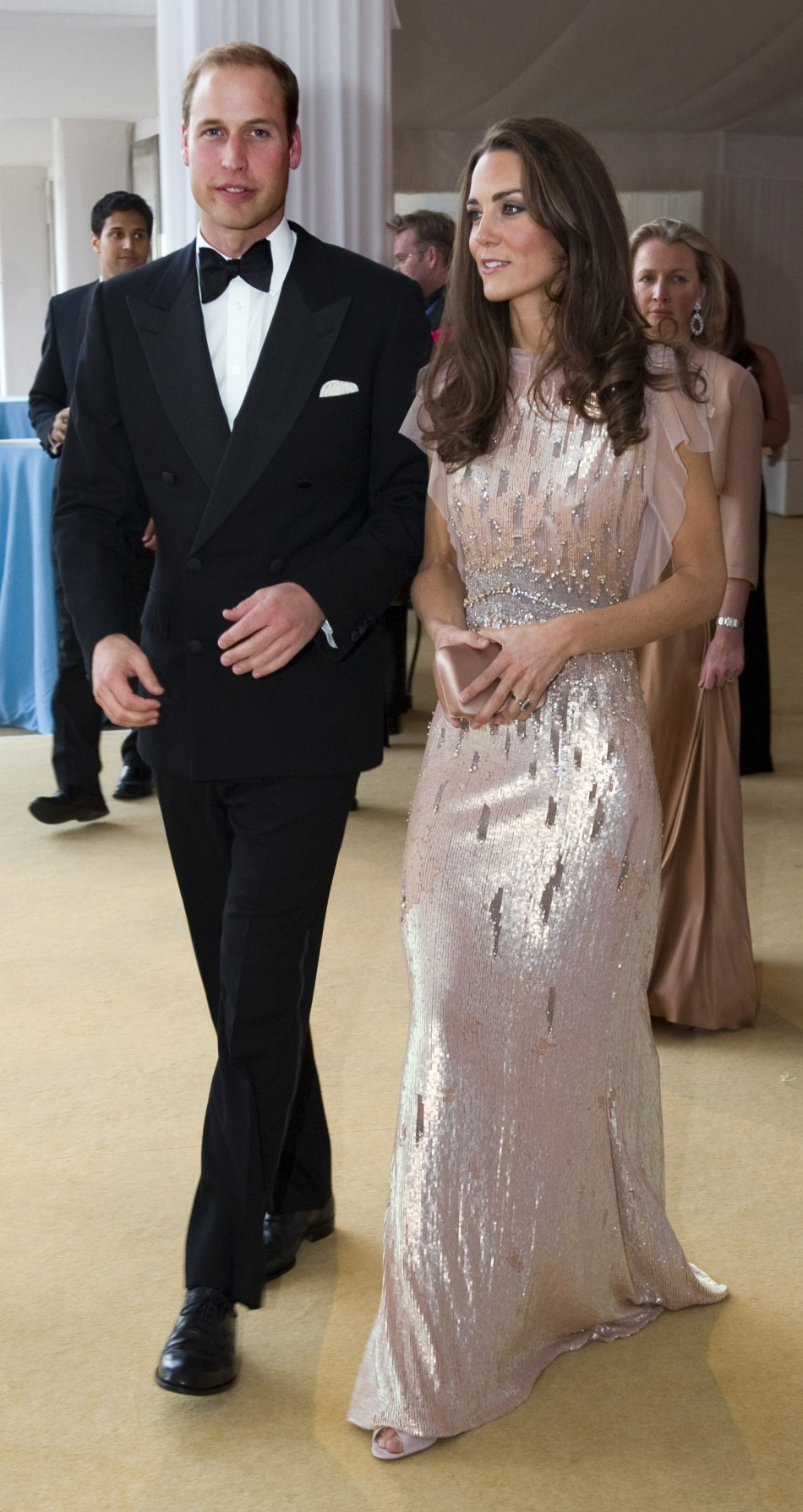 Britain's Prince William and his wife Catherine, Duchess of Cambridge arrive at ARK gala dinner at Kensington Palace in London