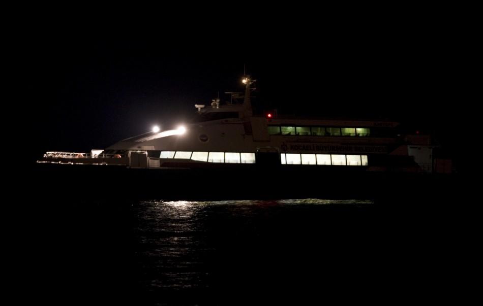 "The hijacked ""Kartepe"" ferry is seen in Marmara sea off the northwestern Turkish town of Silivri, near Istanbul early Saturday."