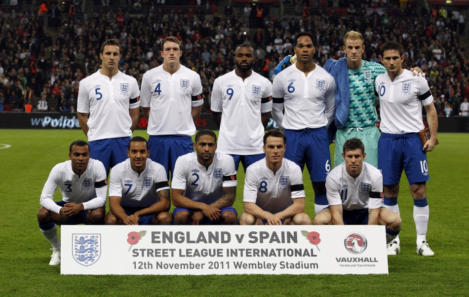 England's national soccer team players pose for pictures before their international friendly soccer match against Spain in London
