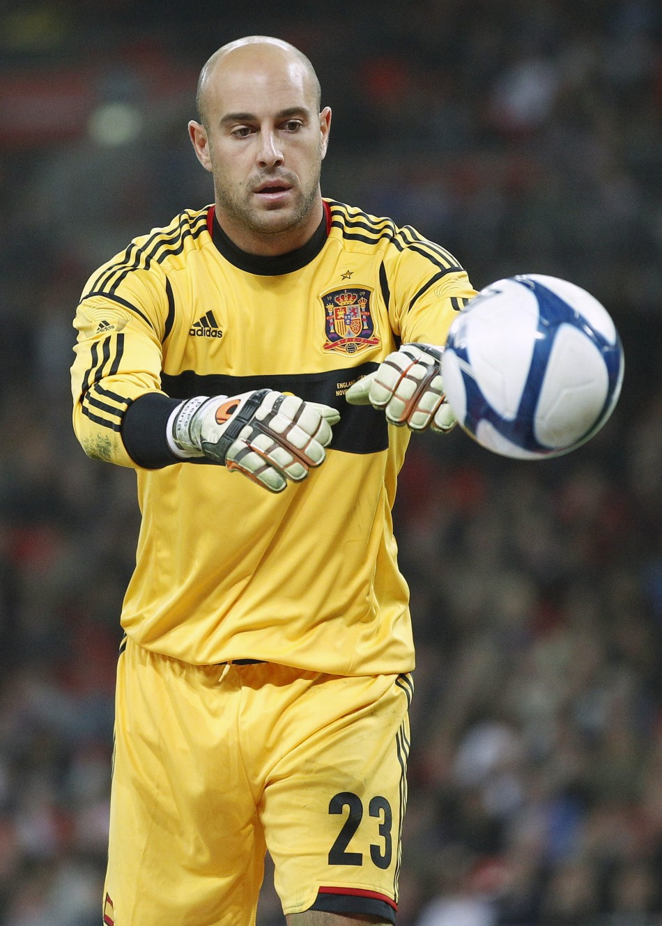 Spains Reina catches the ball during their international friendly soccer match against England at Wembley Stadium in London