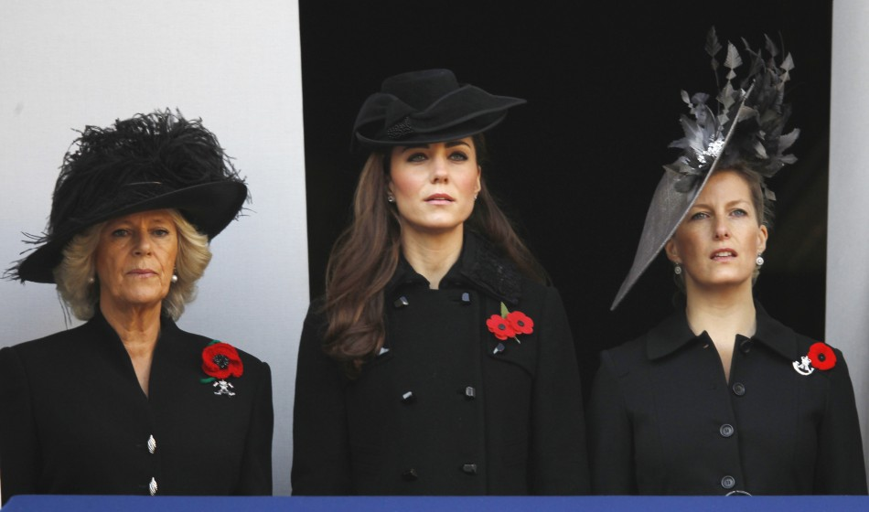 Camilla, Duchess of Cornwall (left), Attends the Annual Remembrance Sunday ceremony, with Catherine, Duchess of Cambridge (centre), and Sophie, Countess of Wessex, at the Cenotaph in London, on November 13, 2011.