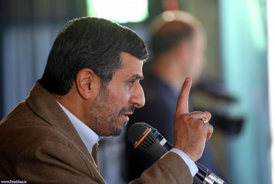 Iranian President Mahmoud Ahmadinejad speaks to an audience in city of Birjand