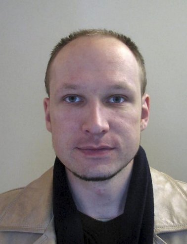 A passport picture of Norwegian confessed killer Anders Behring Breivik