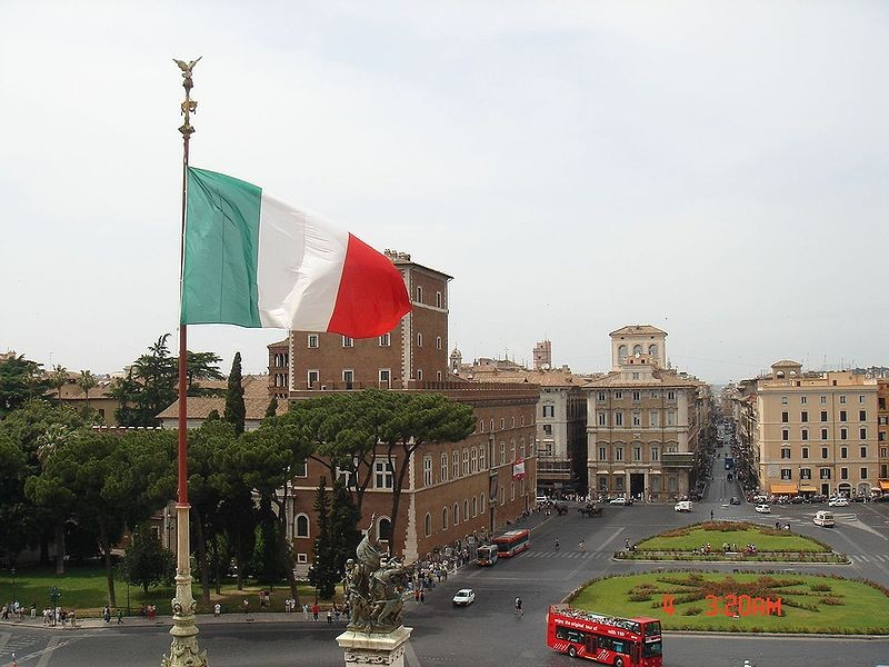 Flag of Italy at Vittoriano at Piazza Venezia, Rome