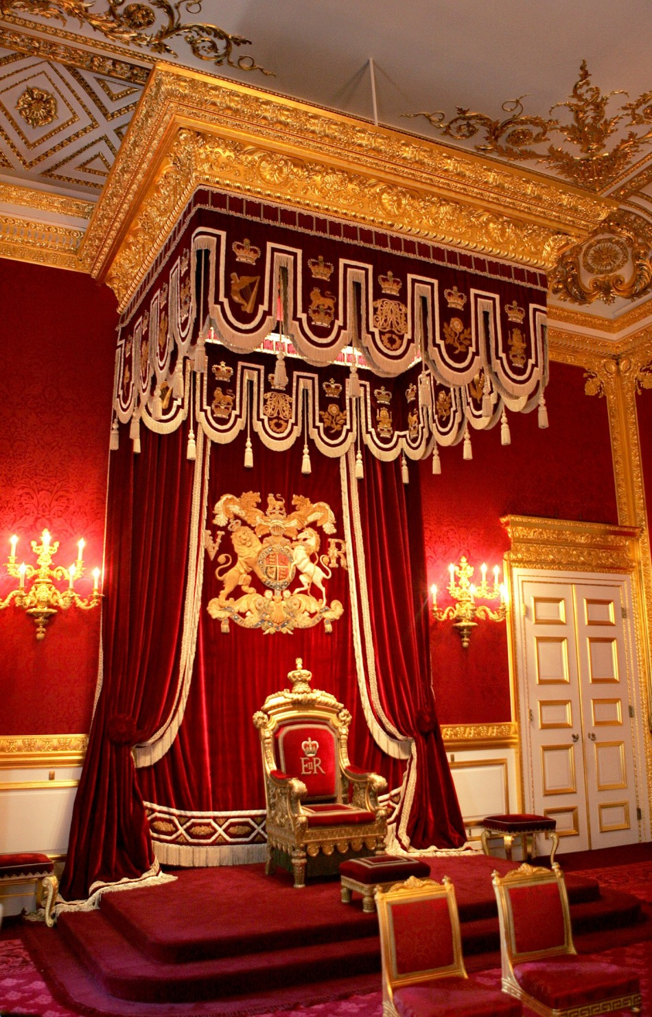 The throne is seen in the Throne Room at St. James's Palace in London