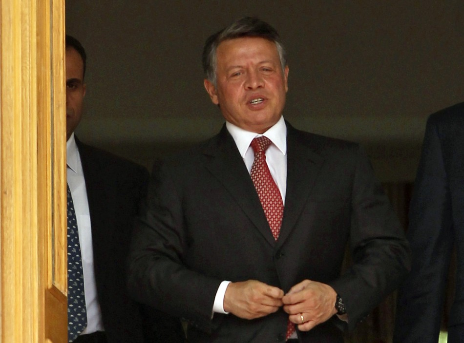 Jordan's King Abdullah leaves the Raghadan Palace after for the swearing-in ceremony of the new cabinet in Amman