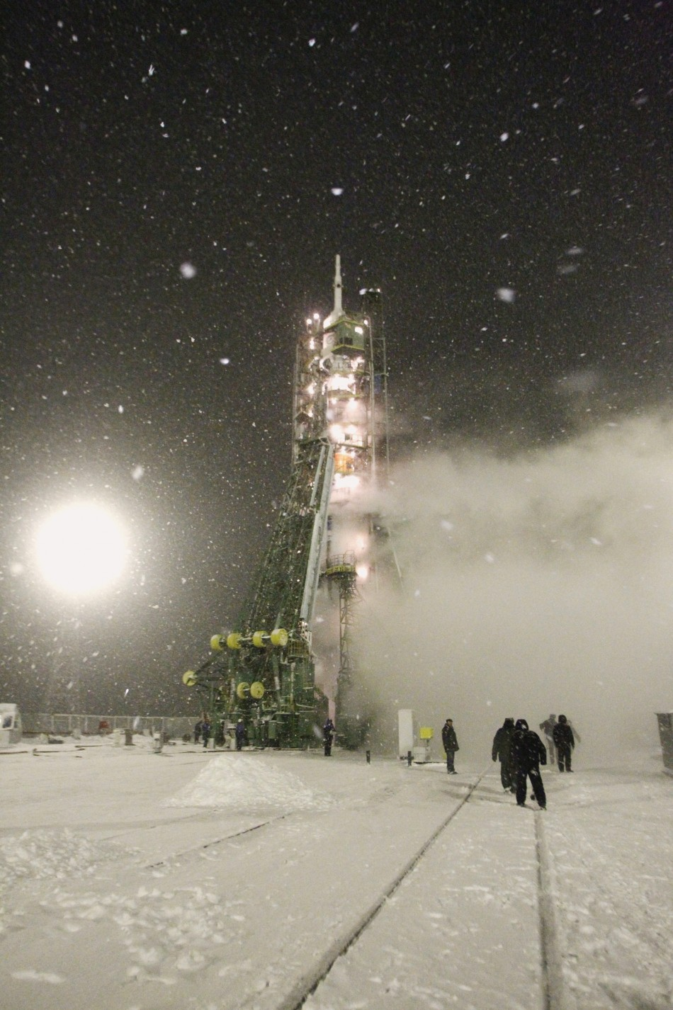 The Soyuz TMA-22 spacecraft rests on its launch pad at Baikonur cosmodrome