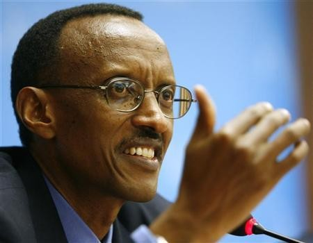 Rwandan President Paul Kagame gestures during a news conference at the International Telecommunication Union