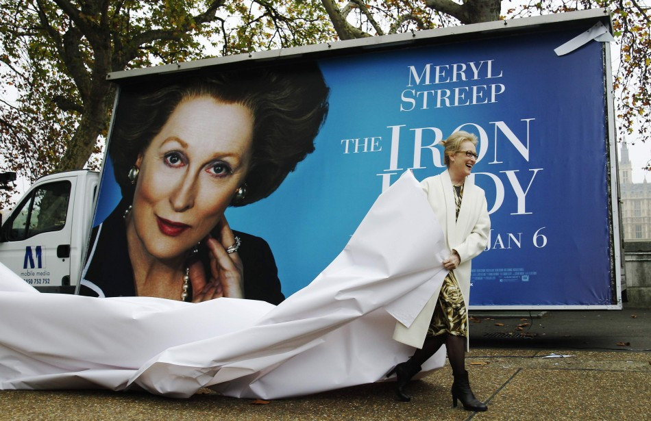 """Actress Meryl Streep unveils a poster for her new film """"The Iron Lady"""" in central London"""