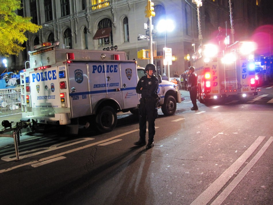 Police Cars Gather at Occupy Wall Street Camp