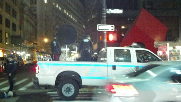 Police use LRAD to disperse the crowd