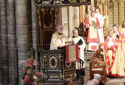 The Archbishop of Canterbury Dr Rowan Williams gives a sermon during a service of celebration to mark the 400th Anniversary of the King James Bible at Westminster Abbey in London.