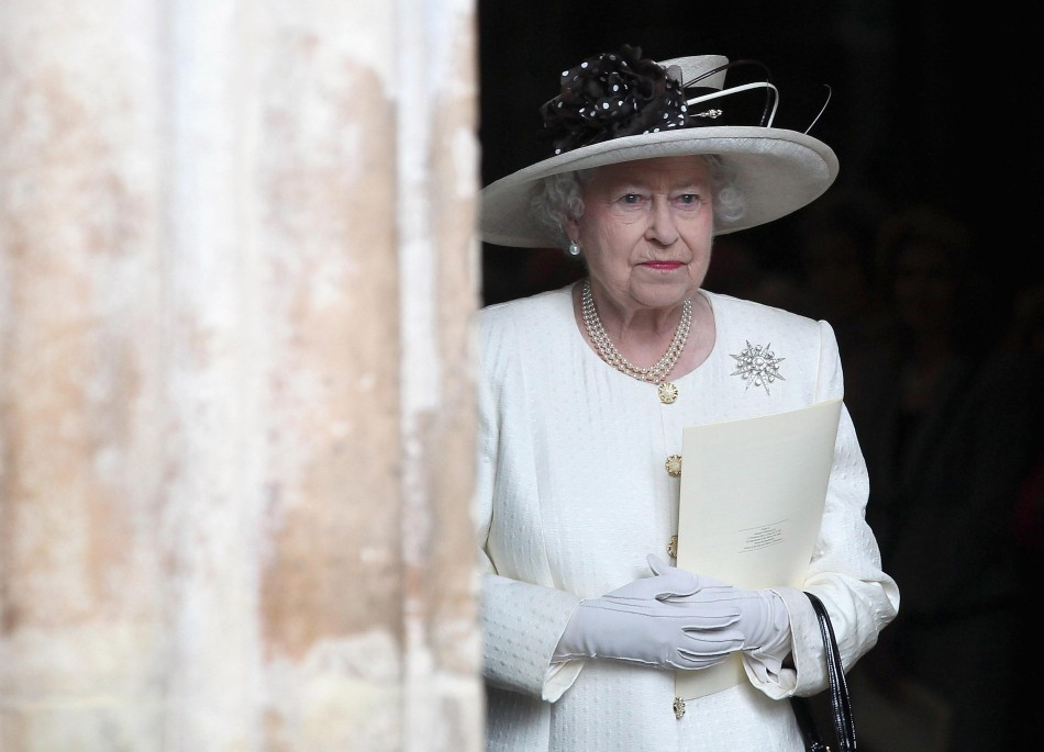 Queen Elizabeth II leaves a service of celebration to mark the 400th Anniversary of the King James Bible at Westminster Abbey
