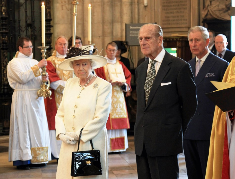 Queen Elizabeth II, the Duke of Edinburgh and the Prince of Wales attend a service of celebration to mark the 400th Anniversary of the King James Bible at Westminster Abbey in London