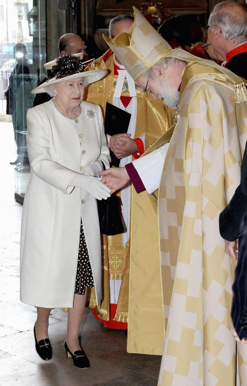 Queen Elizabeth II greets the Archbishop of Canterbury Dr Rowan Williams