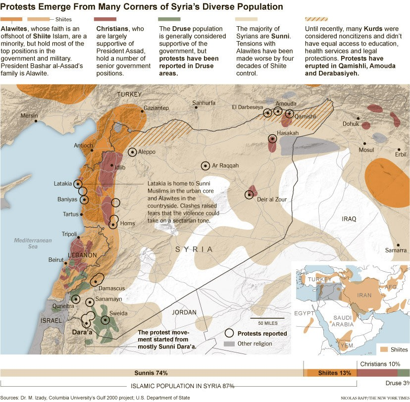 Syria :Map of the protests