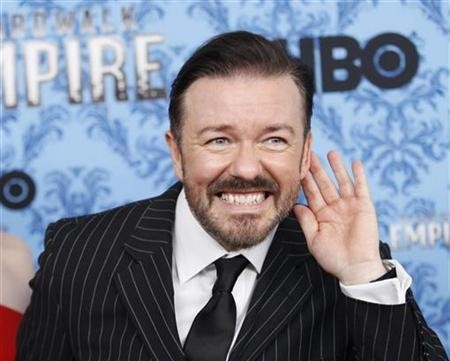 Ricky Gervais gestures during a photo call for the premiere of the second season of ''Boardwalk Empire'' in New York