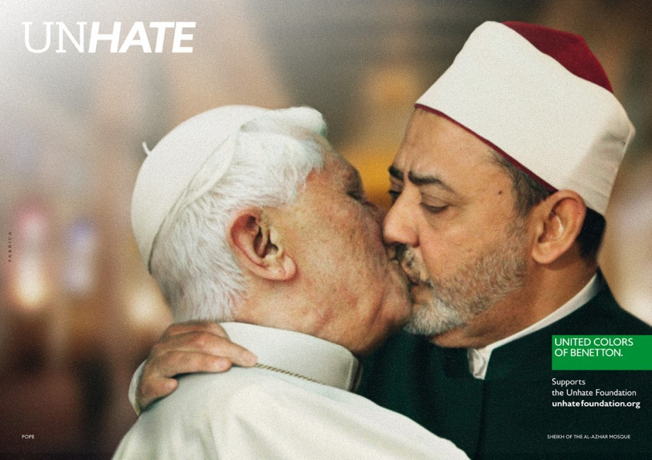 Pope Benedict XVI kissing on the lips Egypt's Ahmed el Tayyeb, imam of the Al-Azhar Mosque in Cairo