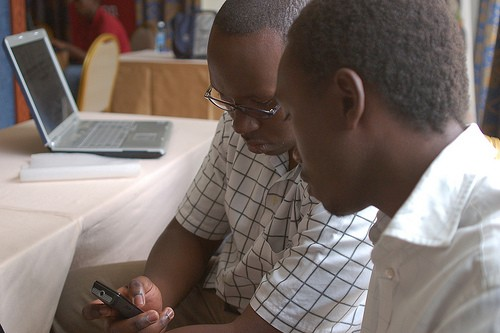 Mobile phone service is soaring in Africa.