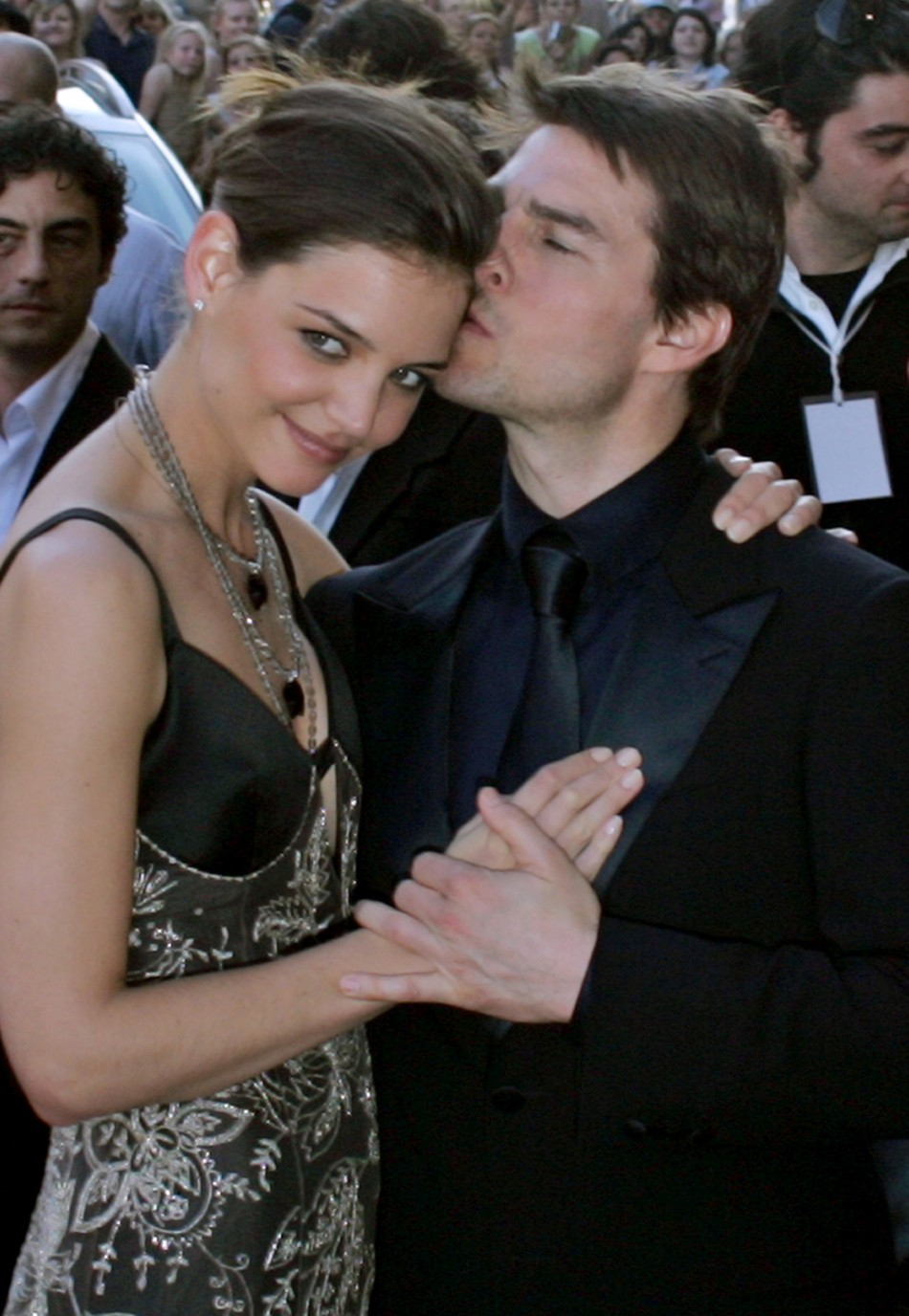 US actor Tom Cruise arrives for awards ceremony with new girlfriend US actress Katie Holmes in Rome
