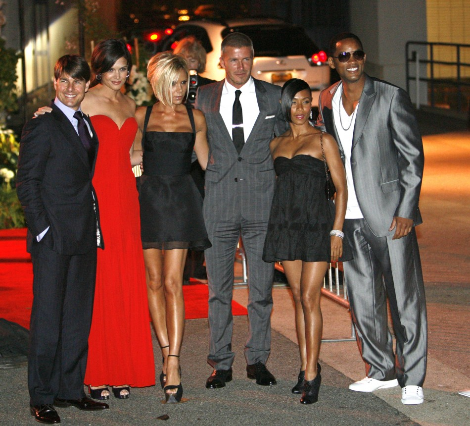 Cruise, Holmes, Beckhams, Jada Pinkett Smith and Will Smith pose at a party at the Museum of Contemporary Art in Los Angeles